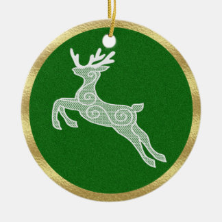 Lace Reindeer-Green Ceramic Ornament