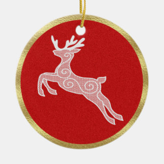 Lace Reindeer-Red Ceramic Ornament