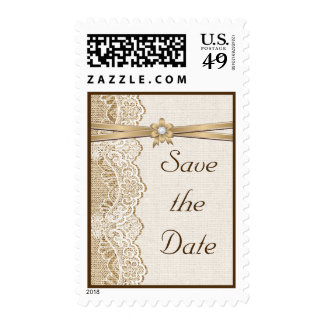 Lace, ribbon and burlap wedding Save the Date Postage Stamp