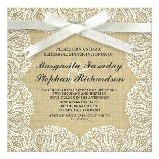 lace ribbon & burlap rustic rehearsal dinner custom invitations