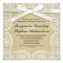 "lace ribbon & burlap rustic rehearsal dinner 5.25"" square invitation card"
