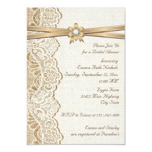 Lace, ribbon flower & burlap wedding bridal shower 5x7 paper invitation card