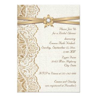 "Lace, ribbon flower & burlap wedding bridal shower 5"" x 7"" invitation card"