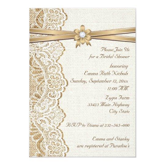 lace ribbon flower amp burlap wedding bridal shower