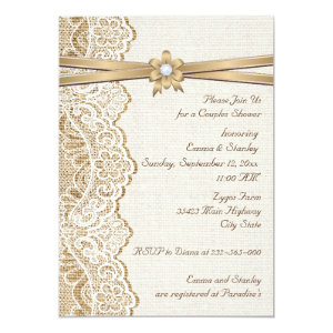 Lace ribbon flower & burlap wedding couples shower 5x7 paper invitation card