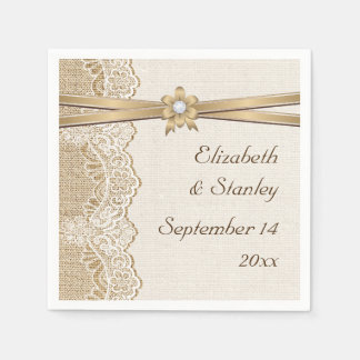 Lace, ribbon flower & burlap wedding disposable napkin