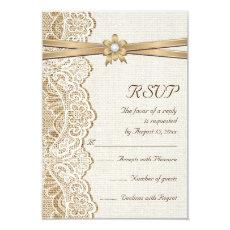 Lace, ribbon flower & burlap wedding RSVP response 3.5