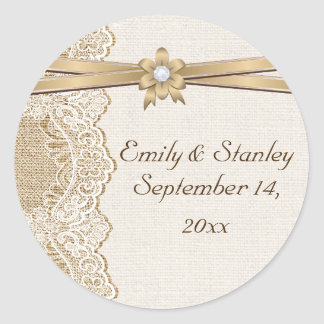 Lace, ribbon flower & burlap wedding Save the Date Classic Round Sticker