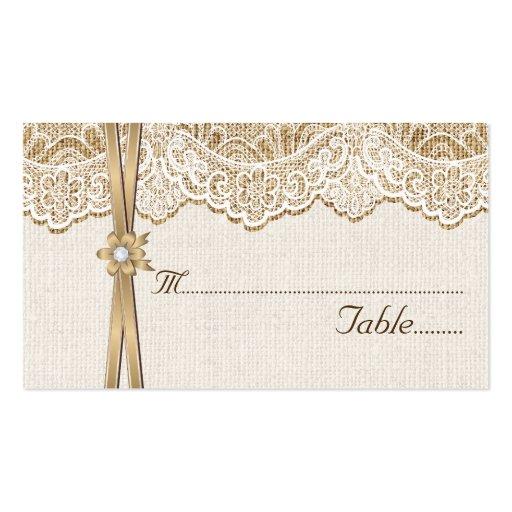 Lace ribbon flower on burlap wedding place card zazzle for Burlap flower template