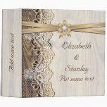 Lace, ribbon flower & wood wedding planner vinyl binder