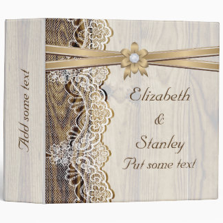 Lace ribbon flower wood wedding planner vinyl binder