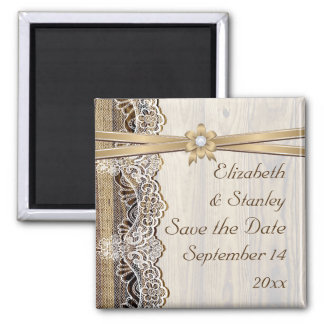 Lace, ribbon flower & wood wedding Save the Date 2 Inch Square Magnet