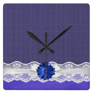 Lace Ribbon Gerbera Blue Damask Square Wall Clock