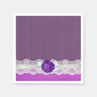 Lace Ribbon Gerbera Purple Damask Napkin