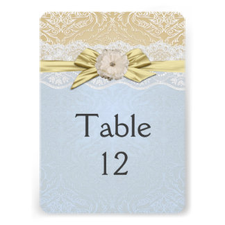 Lace Ribbon Gold/Blue Damask Table card
