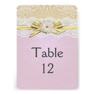 Lace Ribbon Gold/Lavender Damask Table card