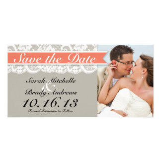 Lace Ribbon Gray and Coral Save the Date Card