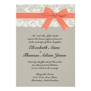 Lace Ribbon Gray and Coral Wedding Invitation 5