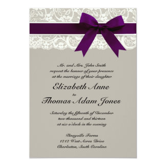 Lace Ribbon Gray And Plum Wedding Invitation