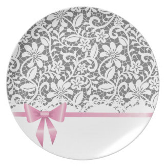 Lace,ribbon,pink,white,multicolour,girly,cute,chic Dinner Plates