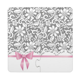 Lace,ribbon,pink,white,multicolour,girly,cute,chic Puzzle Coaster
