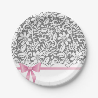 Lace,ribbon,pink,white,multicolour,girly,cute,chic 7 Inch Paper Plate