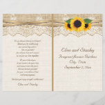 """Lace ribbon &amp; sunflowers on burlap wedding program<br><div class=""""desc"""">Elegant white lace, ribbon, sunflowers and burlap folded wedding program featuring white lace on beige natural burlap or hessian with two crossed satin ribbons and sunflowers. Text in brown. Note that lace, burlap and sunflowers are all """"printed on"""" and not real fabric or flowers. This elegant, sophisticated and romantic design...</div>"""