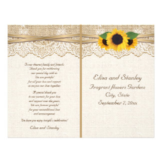 Lace ribbon & sunflowers on burlap wedding program