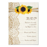 Lace, ribbon & sunflowers on burlap wedding RSVP 3.5x5 Paper Invitation Card