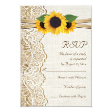 Lace, ribbon & sunflowers on burlap wedding RSVP 3.5