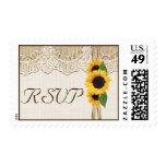 Lace, ribbon & sunflowers on burlap wedding RSVP Postage
