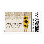 Lace, ribbon & sunflowers on burlap wedding RSVP Postage