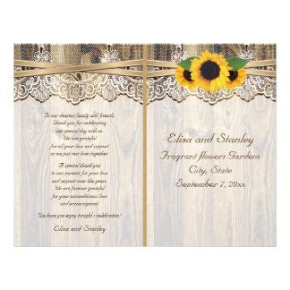 Lace ribbon & sunflowers on wood wedding program