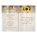 Lace ribbon & sunflowers on wood wedding program full color flyer