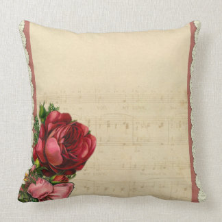 Lace Rose Music Notes Vintage Retro Art Throw Pillow