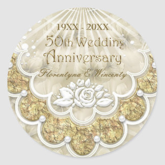Lace, rose, pearl effect 50th Wedding Anniversary Classic Round Sticker
