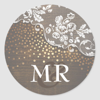 Lace Rustic Wood Gold Confetti Barn Wedding Classic Round Sticker