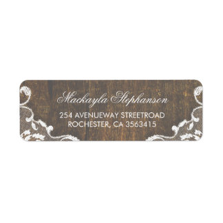 Lace Rustic Wood Wedding Label