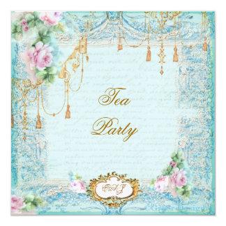"""Lace Scrolls & Tassels Invite 5.25"""" Square Invitation Card"""