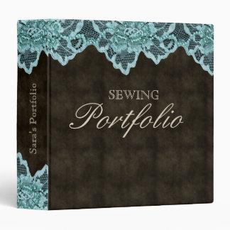 Lace Sewing Binder Portfolio Brown Turquoise Blue