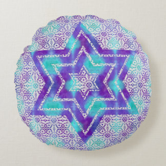 Lace Star of David on Watercolor Pattern Round Pillow