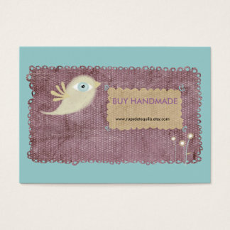 Lace stitched berry gold bird flower custom design business card