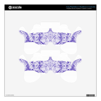 Lace strip Blue PS3 Controller Decal