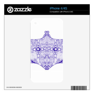 Lace strip Blue Skins For iPhone 4S