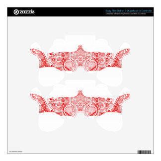 Lace Strip Bright Red PS3 Controller Decals