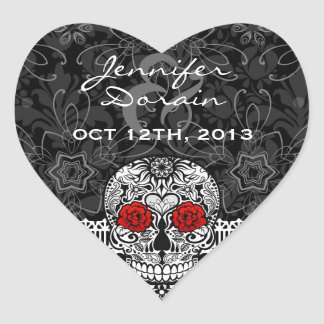 Lace Sugar Skull Day of the Dead Save the Date Sticker