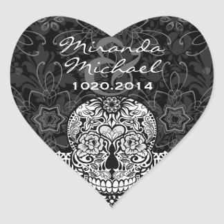Lace Sugar Skull Day of the Dead Save the Date Heart Sticker