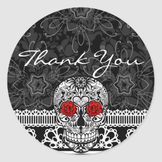Lace Sugar Skull Day of the Dead Thank You Sticker
