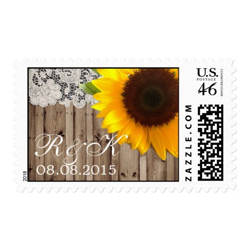lace sunflower country wedding save the date stamps