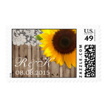 lace sunflower country wedding save the date postage